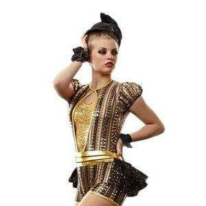 Dance outfit for jazz or swing gold & black